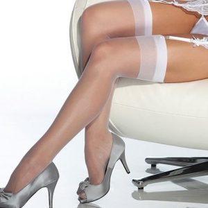 Merry See Beyaz Dantelsiz Jartiyer Çorabı