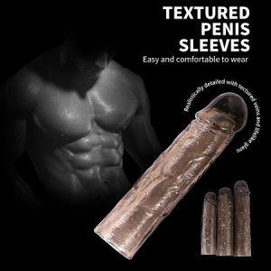 3lü Penis Kılıfı Set Ucu Dolgulu Uzatmalı Prezervatif Zenci Dildo